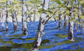 Bluebells and Birch 70x70cm