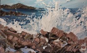Crashing wave Iona 40x50cm